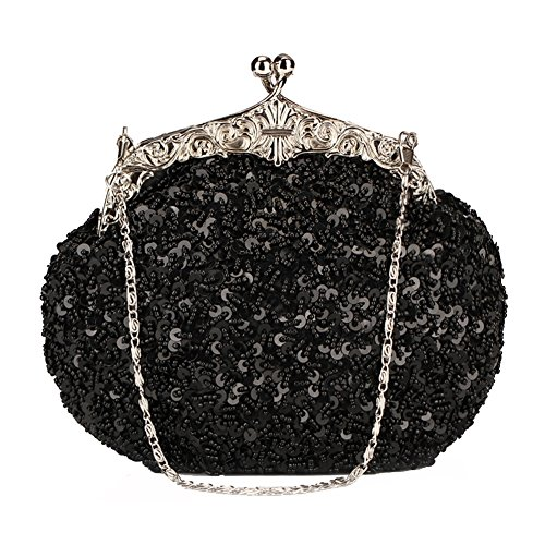(Chicastic Fully Sequined Mesh Beaded Antique Style Formal Cocktail Clutch- Black)