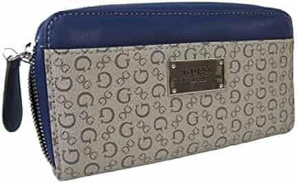 New Guess G Logo Large Zip Around Wallet Purse Hand Bag Navy Blue Wedgewood 3db7df873cbd6
