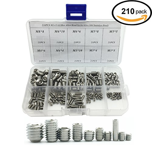 210PCS 304 Stainless Steel Allen Head Socket Hex Grub Screw Assortment Kit (M3 M4 M5 M6 M8)
