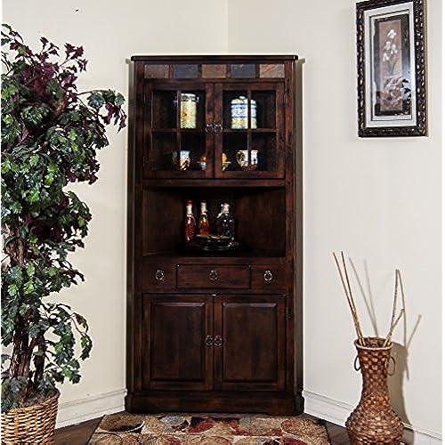 Sunny Designs Santa Fe Corner China Cabinet In Dark Chocolate