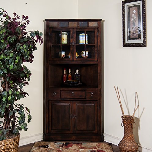 Sunny Designs Santa Fe Corner China Cabinet in Dark Chocolate