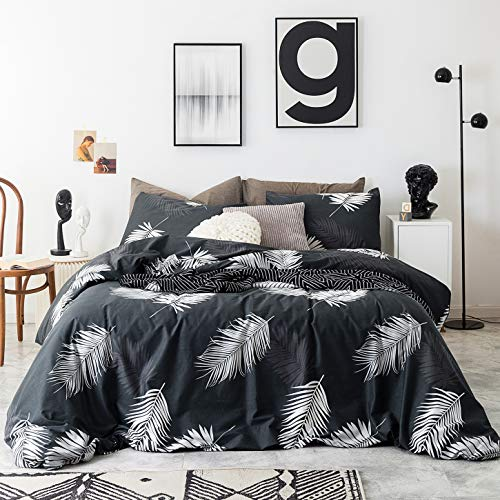 SUSYBAO 3 Pieces Duvet Cover Set 100% Cotton King Size Black and White Tropical Botanical Bedding Set 1 Palm Leaves Duvet Cover with Zipper Ties 2 Pillow Cases Luxury Quality Soft Breathable Durable
