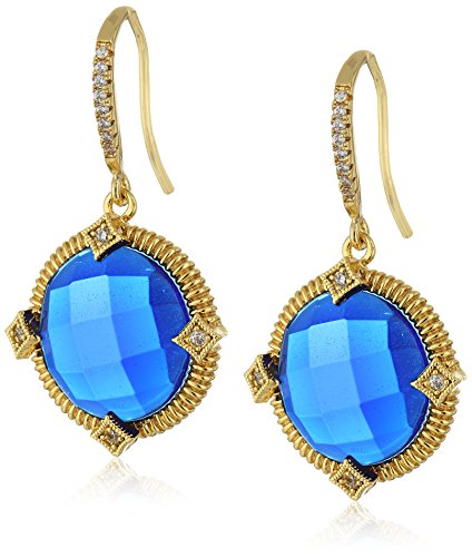 Faceted Blue Glass Ring (Gold-Tone Faceted Blue Glass and Cubic Zirconia Round Drop)