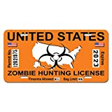 Graphics and More Zombie Hunting License Permit Orange United States - Biohazard Response Team Novelty Metal Vanity License Tag Plate