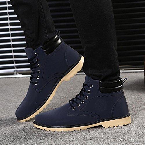 de de Otoño forro de oscuro Martin piel Cordones Zapatos los hombre Azul Manadlian Botines hombres Zapatos cordones Invierno para Boots con F7pdq6w