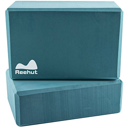 "Reehut (2-PC) Yoga Blocks, 9""x6""x3"" - High Density EVA Foam Blocks to Support and Deepen Poses, Improve Strength and Aid Balance and Flexibility - Lightweight, Odor Resistant(Turquoise)"