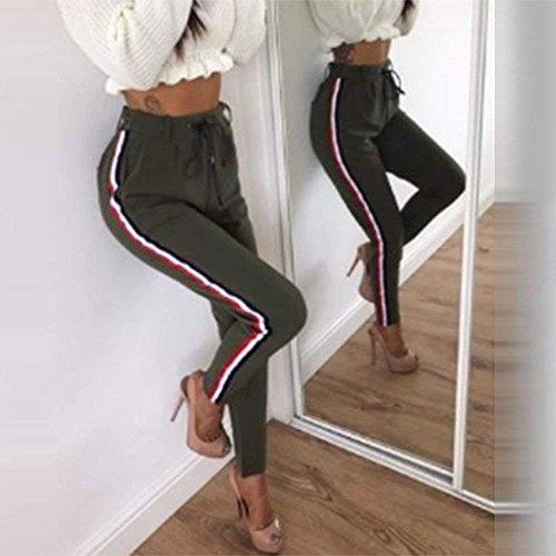 Donna Libero Della Fit Ragazza Stoffa Tasche Eleganti Autunno Slim Coulisse Trousers Pantaloni Tuta Primaverile Tempo Vita Alta Verde Lunga Con Jogging Di Verticali Basic Strisce qCdRE6xn