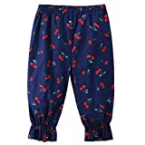 GreatestPAK Toddler Girls Floral Printing Leggings Trousers, Baby Girl Loose Casual Pants For 2Y—7Y Kids Fashion and Cute (Navy, 90)