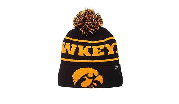 0ffeaf130bc Iowa Hawkeyes Zephyr Bandit Knit Cuffed Black Gold Poof Ball Beanie Cap Hat