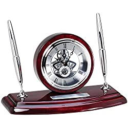 Awards and Gifts R Us Customizable Piano Finish Rosewood Skeleton Desk Clock Pen Sets, Includes Personalization