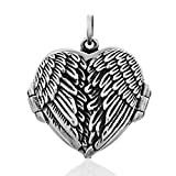 WithLoveSilver Sterling Silver Feather Angel Wing Heart Love Charms Locket Pendant