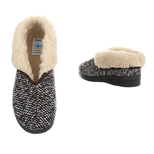 Ital-Design Hausschuhe Damenschuhe Pantoffeln Warm Gefütterte Freizeitschuhe Braun Multi