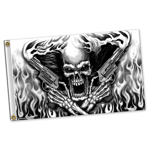 Flaming Skeleton (Assassin Black and White Flaming Skeleton with Pistols Polyester 3x5 Foot Flag)