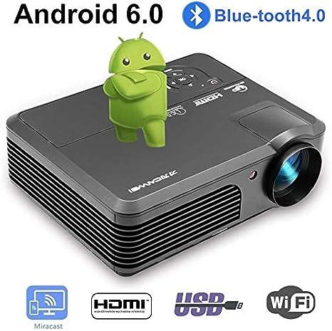 Proyector Wifi con Bluetooth HD 1080P Soporte WXGA LCD LED 4400 ...