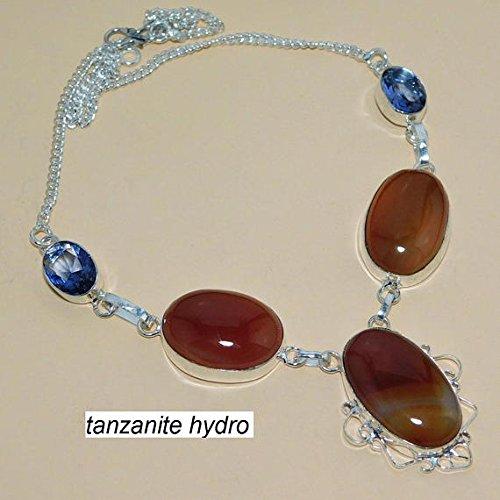 Tanzanite Hydro Orange Agate Necklace Silver Overlay Fashion Jewellery Designer Fancy Jewelry 18 Inch Length