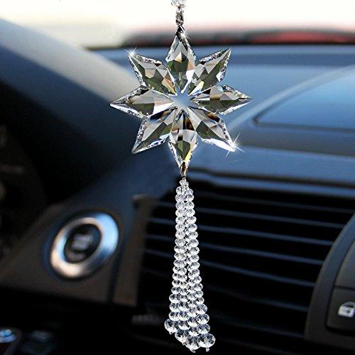 uzoho car rear view mirror ornament car pendant crystal snowflake hanging ornament car. Black Bedroom Furniture Sets. Home Design Ideas