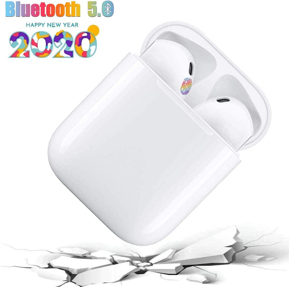 I12 - TWS Auriculares inalámbricos Bluetooth5.0, Toque Inteligente, Emparejamiento emergente automático, Auriculares con cancelación de Ruido estéreo 3D, Micrófono binaural HD Call - Blanco