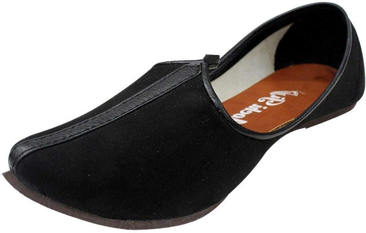 Indian Sherwani Men Shoes Flip-Flops Handmade Punjabi Khussa Mojari Flat US 6-12
