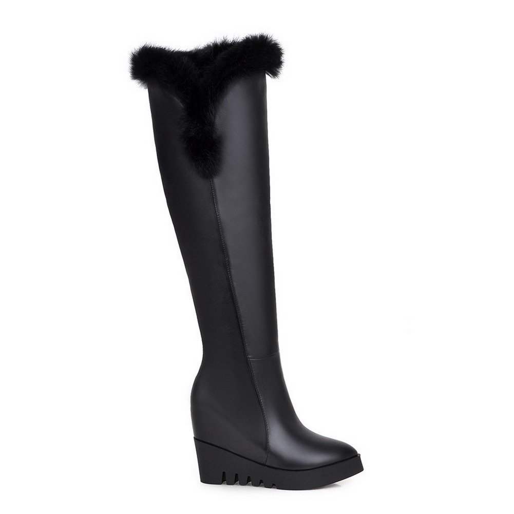 AmoonyFashion Womens Pointed Closed Toe High-Heels Assorted Color Above-The-Knee Boots