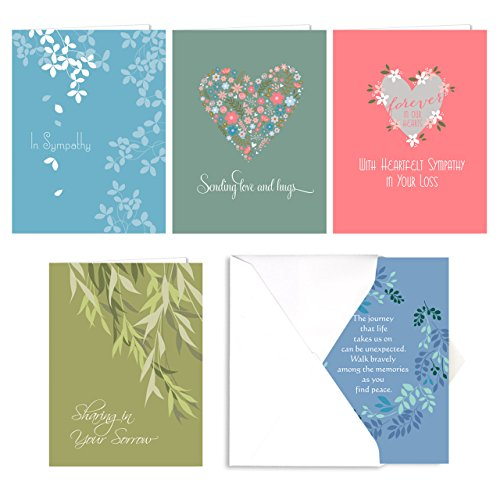 (Heartfelt Sympathy Card Assortment Pack - Set of 25 cards - 5 of each design, versed inside with envelopes)