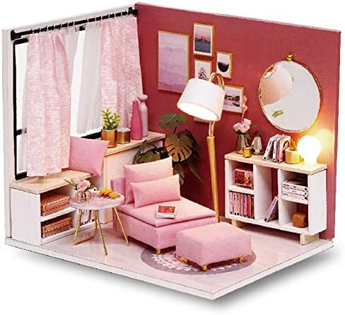 Doll House Furniture Diy Miniature 3D Wooden Miniaturas Dollhouse Kitten Diary