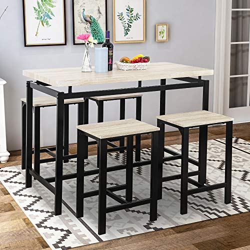 Pub Table Set, Rockjame 5 Piece Counter Height Dining Table Set with 4 Chairs for The Bar, Breakfast Nook, Kitchen Room, Dining Room and Living Room (Beige) (Sets Table Height Kitchen Counter)