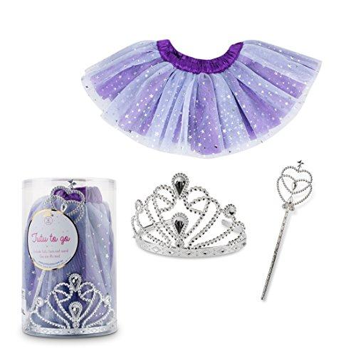 o 3 Piece Set - Cute Princess Dress Up Set Includes Tutu, Tiara and Wand - Fun Girlie, Ballerina, Fairy Role Playing Set (Purple Star) ()