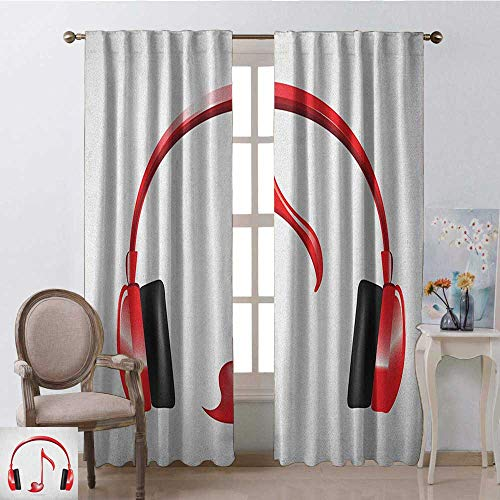 (youpinnong Music, Kitchen Curtains and Valances Set, Love Sound Headphones with Heart Shaped Key Note Symbol Melody Artistic Design, Curtains for Party Decoration, W108 x L96 Inch, Red Black Grey)