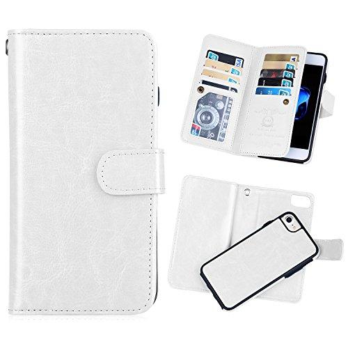 iPhone 6/6s(4.7'') Wallet Case,[BRG] Premier PU Leather Folio Flip 9 Credit Card Slots Cash Holder Vintage Design Magnetic Closure Wallet with Detachable Protective Case for iPhone 6 (White)