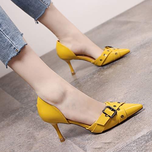 Yukun Yukun Yukun Schuhe mit hohen Absätzen Mode Kreuz Gürtelschnalle High Heels Weiblich Spitze Stiletto Einzel Schuhe Hohl Flach Mund Frauen Schuhe dd4345