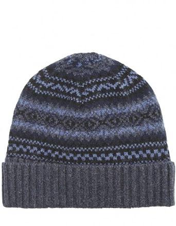 Gant Fair Isle Wool Beanie Hat OS Navy at Amazon Men's Clothing ...