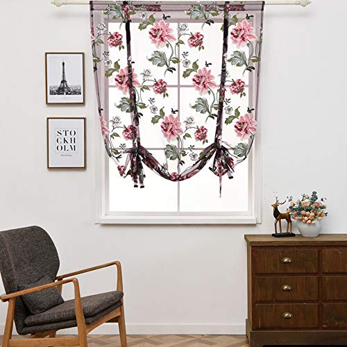 Gotian Rod Liftable Kitchen Bathroom Window Roman Curtain Floral Sheer Voile - Cafe, Balcony, Living Room, Bathroom, Bedroom, Kitchen - Valances, Flower, Room Deco (L)