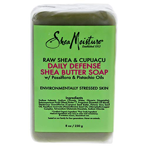 Raw Shea Butter Daily Moisture - Shea Moisture Raw & Cupuacu Daily Defense Butter Soap Bar for Unisex, 8 Ounce
