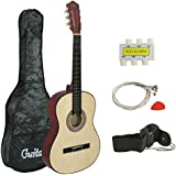 ZENY Beginners 38'' Acoustic Guitar Package Kit for Right-handed Starters Kids Music Lovers w/Case, Strap, Digital E-Tuner, and Pick (Natural)