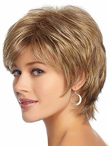 Women's Wig Deep Brown Kanekalon Wavy Curly Natural Short Wig For Women Girl