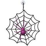 "Amscan Family Friendly Glitter Spider & Web Halloween Decoration, Black/Purple, 12"" x 12"""