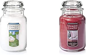Yankee Candle Large Jar Candle Clean Cotton & Candle Large Jar Candle Home Sweet Home