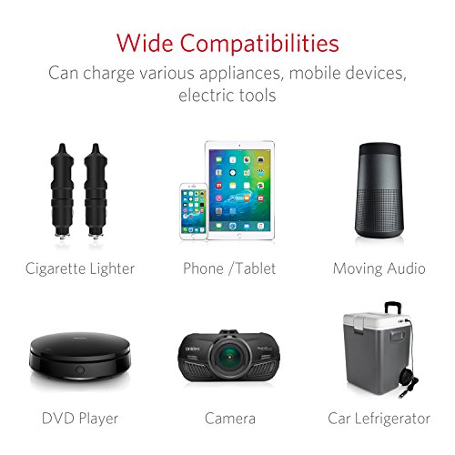 BESTEK 3 Fach Zigarettenanz/ünder Verteiler mit 4 USB Anschl/üsse Adapter 12//24V DC Auto Ladeger/ät f/ür iPhone Smartphone iPad Tablet GPS usw Grau