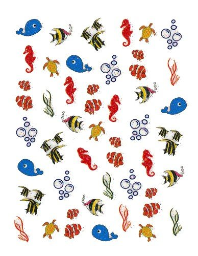 Ocean Life Designer Scrapbooking Stickers/ Nail Decals - Joby Nail