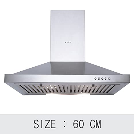 Elica 60 cm 875 m3/hr Chimney (Pyramid Plus 60, 2 Baffle Filters, Steel/Grey)