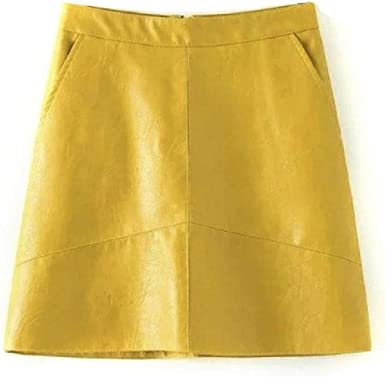 NObrand Falda de Cuero Casual para Mujer Falda Mini Elegante de ...