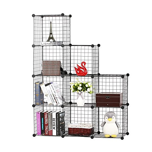 Bookcase Wide Metal - BASTUO 9 Cubes Wire Grid Storage Cabinet Bookcase Shelf Modular Metal Cubes Organizer,Closet for Toys,Books,Clothes,Black