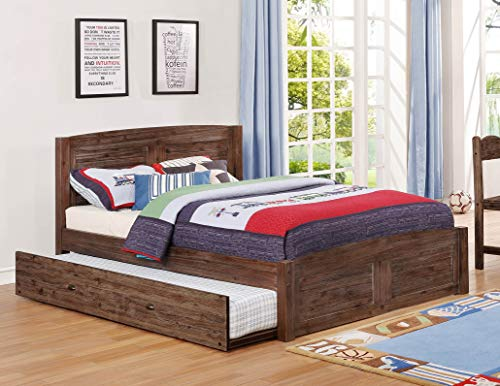 American Furniture Classics 4831-TRUN Full Twin Sized Roll Out Trundle Unit in Solid Acacia Hardwoods Platform Bed Chestnut