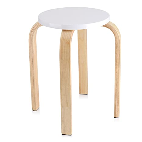 Phenomenal Cocoarm Wooden Round Stool Anti Slip Color Wood Stack Stool For Kitchen Home Garden Living And Class Room White Pabps2019 Chair Design Images Pabps2019Com