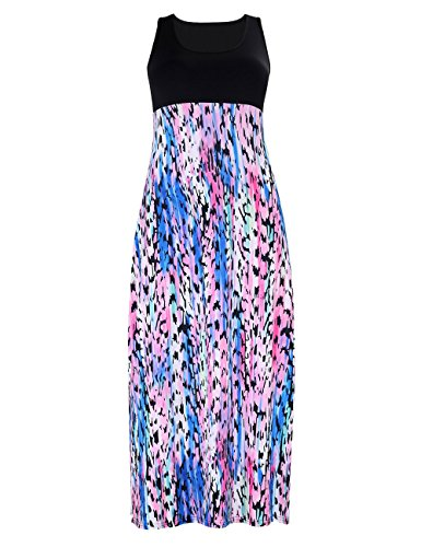 Maxi Size Long Plus Striped Akmipoem Women Wave Black Neck Chevron Scoop Dress wOgaaH