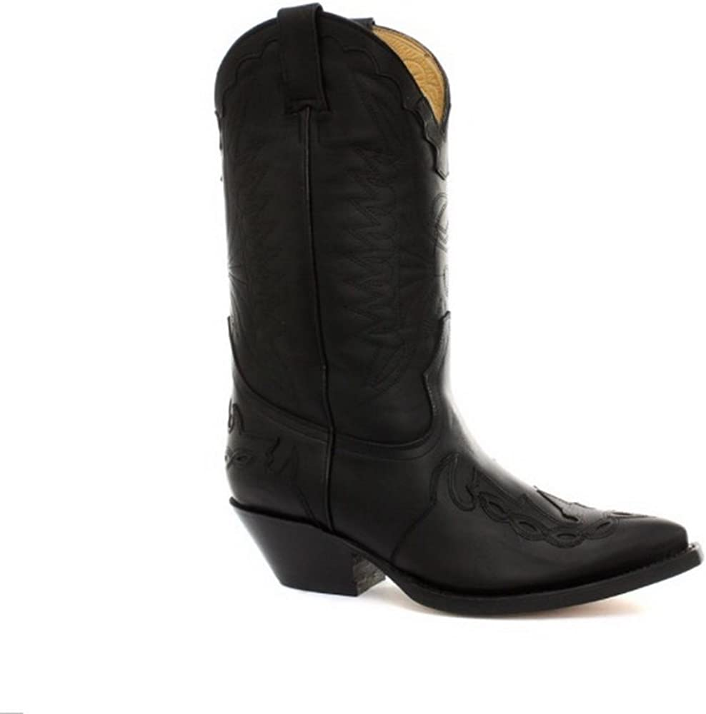Grinders Mustang Unisesx  Cowboy Western Black Leather Boots