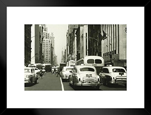 (Retro Cars on a Busy Street New York City NYC B&W Photo Art Print Matted Framed Wall Art 26x20 inch)