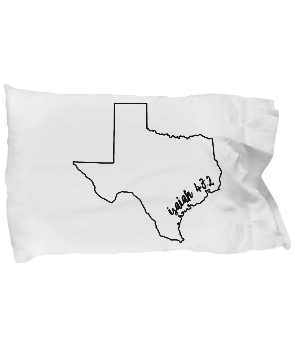 Isaiah 43 2 Pillow Case - Texas Hurricane Harvey Gift: ''When You Go Through Deep Waters I Will Be With You''; Christian Pillow Cover/ Slip; Inspirational Unique Gift No. 3