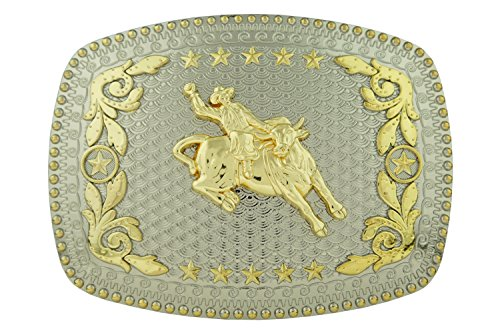 RIDE AWAY Rodeo Bull Rider Western Style Gold Color Large Square Belt Buckles (Bull Rider Rodeo)