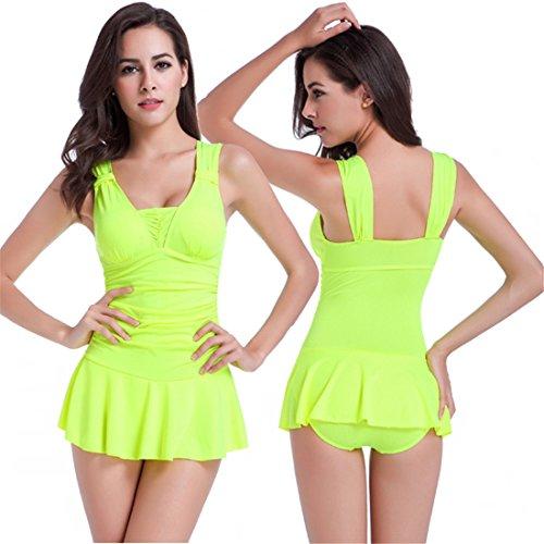 Sexy One Piece Swimdress Tankini Bathing Suit Swimwear for Women Padded Swimsuit (L, yellow)